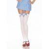 Thigh Hi White w/Blue Bow